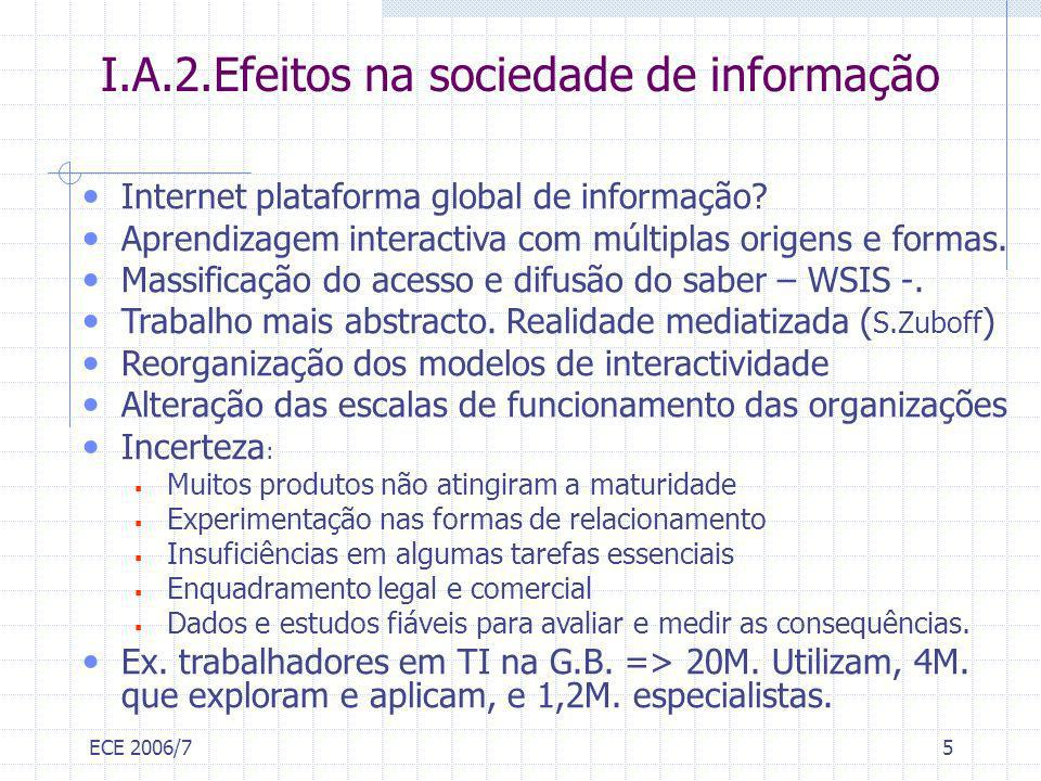 ECE 2006/75 I.A.2.Efeitos na sociedade de informação Internet plataforma global de informação? Aprendizagem interactiva com múltiplas origens e formas