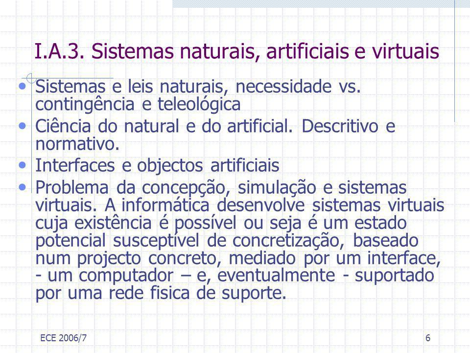 ECE 2006/76 I.A.3. Sistemas naturais, artificiais e virtuais Sistemas e leis naturais, necessidade vs. contingência e teleológica Ciência do natural e