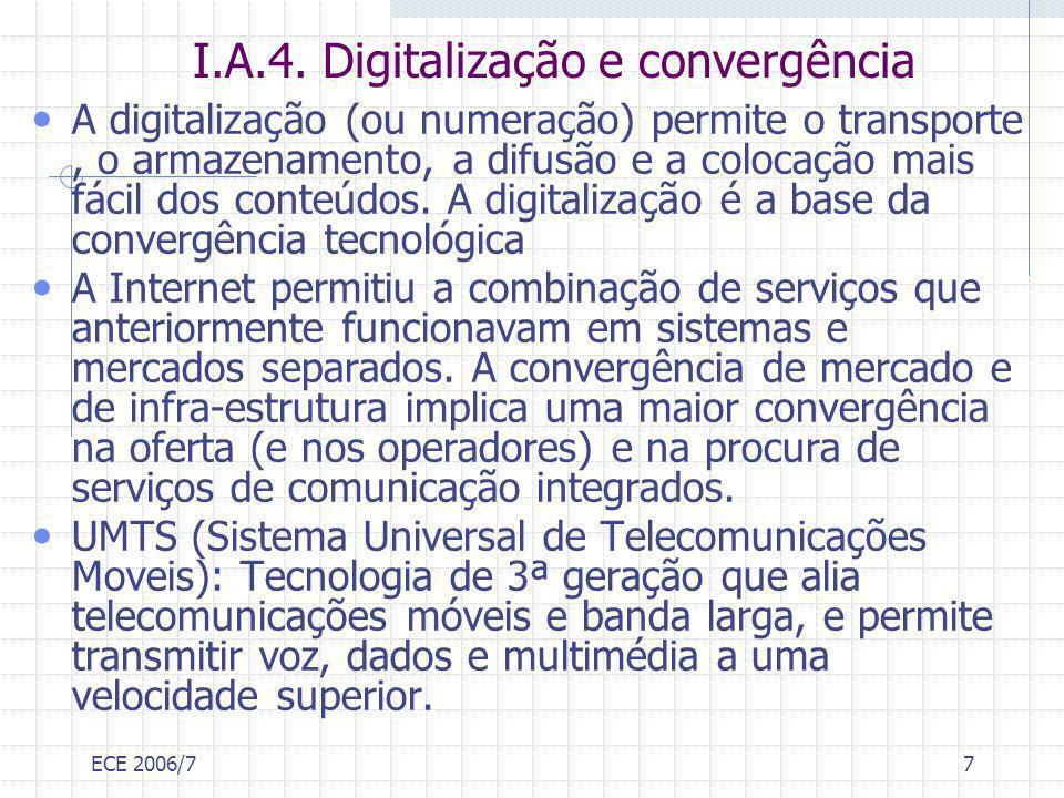 ECE 2006/77 I.A.4. Digitalização e convergência A digitalização (ou numeração) permite o transporte, o armazenamento, a difusão e a colocação mais fác