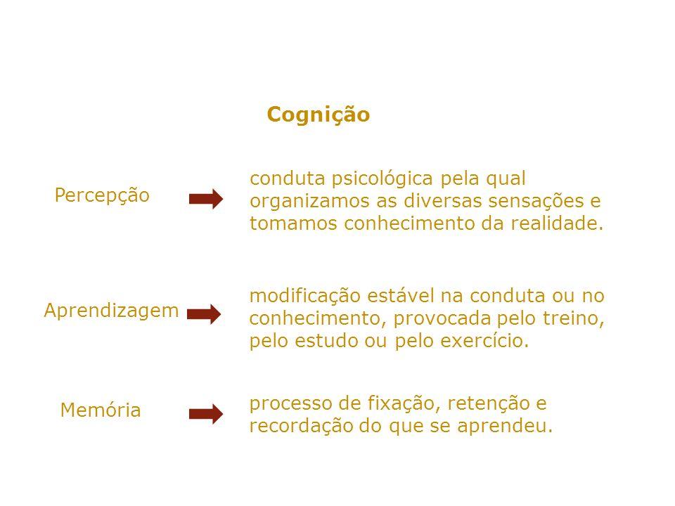 A percepção SENSAÇÃO Captação de estímulos realizada pelos órgãos sensoriais.