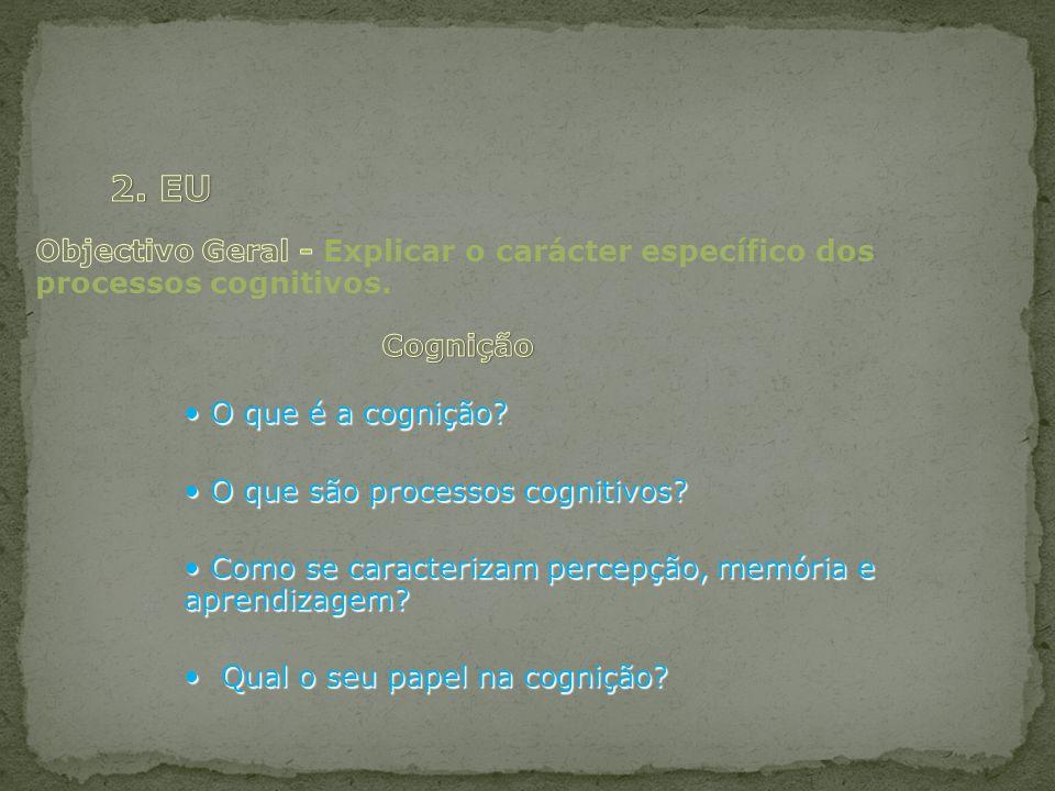 O que é a cognição? O que é a cognição? O que são processos cognitivos? O que são processos cognitivos? Como se caracterizam percepção, memória e apre