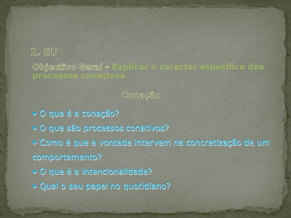 O que é a conação? O que é a conação? O que são processos conativos? O que são processos conativos? Como é que a vontade intervem na concretização de