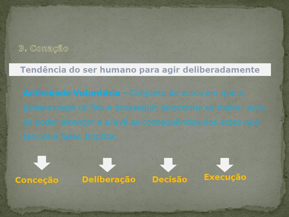 Tendência do ser humano para agir deliberadamente Actividade Voluntária - Conjunto de actos em que a pessoa elege os fins a prosseguir, selecciona os