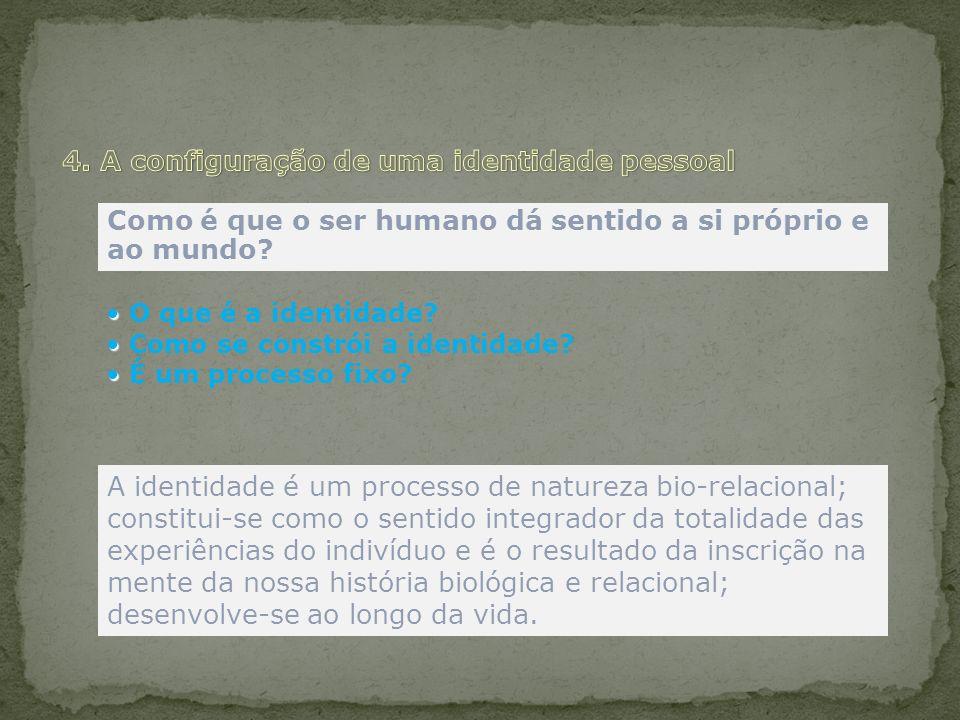 Como é que o ser humano dá sentido a si próprio e ao mundo? O que é a identidade? Como se constrói a identidade? É um processo fixo? A identidade é um
