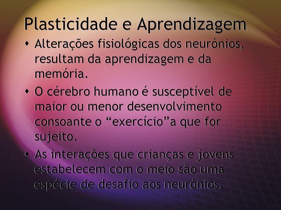 Plasticidade e Aprendizagem Alterações fisiológicas dos neurónios, resultam da aprendizagem e da memória. O cérebro humano é susceptível de maior ou m