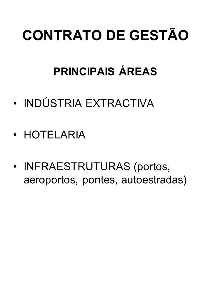 CONTRATO DE GESTÃO PRINCIPAIS ÁREAS INDÚSTRIA EXTRACTIVA HOTELARIA INFRAESTRUTURAS (portos, aeroportos, pontes, autoestradas)