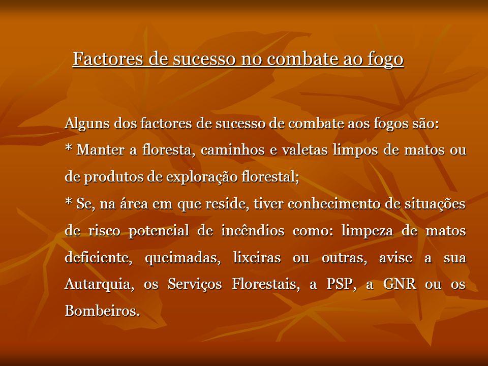 Factores de sucesso no combate ao fogo Alguns dos factores de sucesso de combate aos fogos são: * Manter a floresta, caminhos e valetas limpos de mato