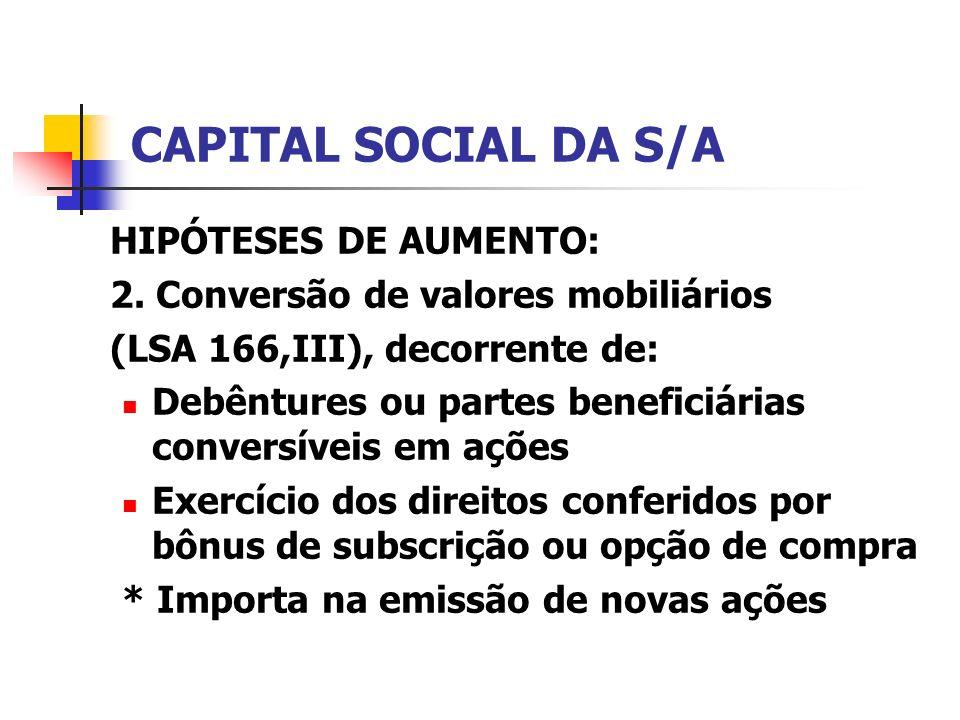 CAPITAL SOCIAL DA S/A HIPÓTESES DE AUMENTO: 2. Conversão de valores mobiliários (LSA 166,III), decorrente de: Debêntures ou partes beneficiárias conve