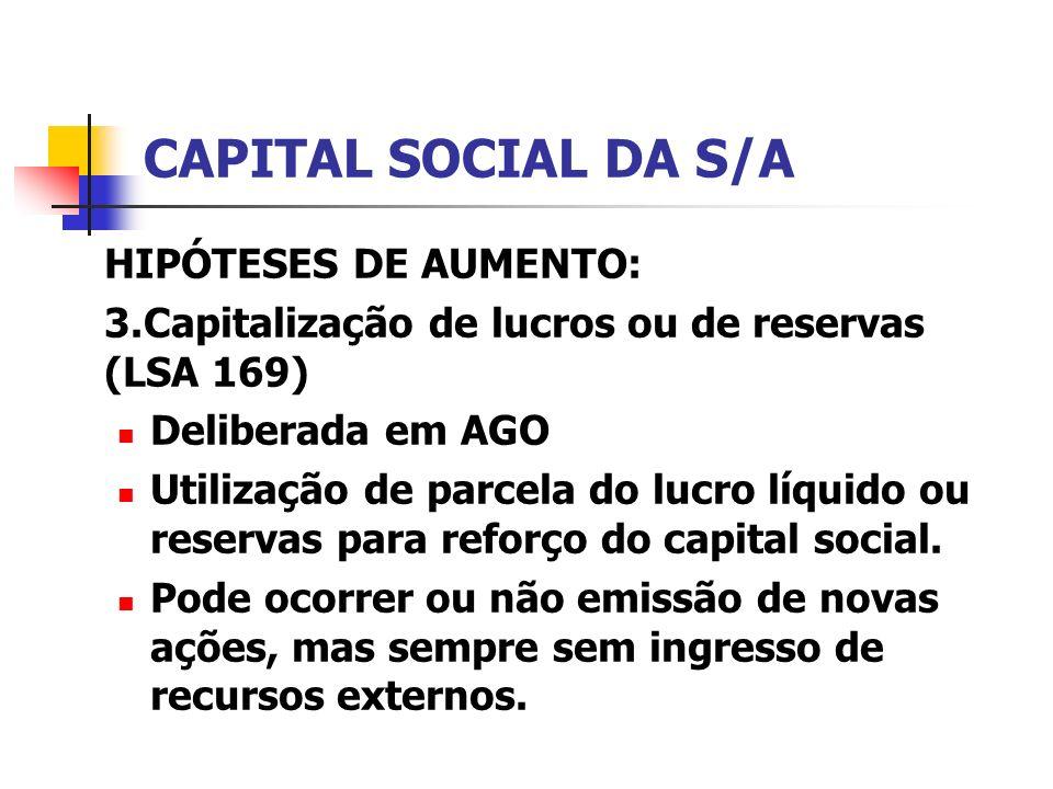CAPITAL SOCIAL DA S/A HIPÓTESES DE AUMENTO: 3.Capitalização de lucros ou de reservas (LSA 169) Deliberada em AGO Utilização de parcela do lucro líquid
