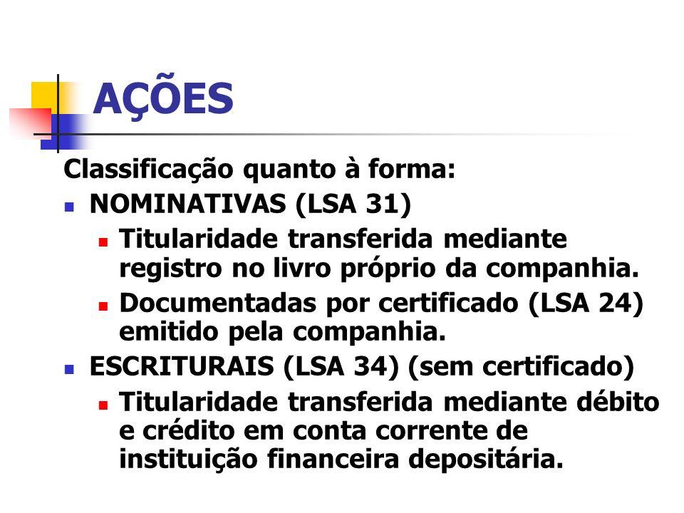 AÇÕES Classificação quanto à forma: NOMINATIVAS (LSA 31) Titularidade transferida mediante registro no livro próprio da companhia. Documentadas por ce