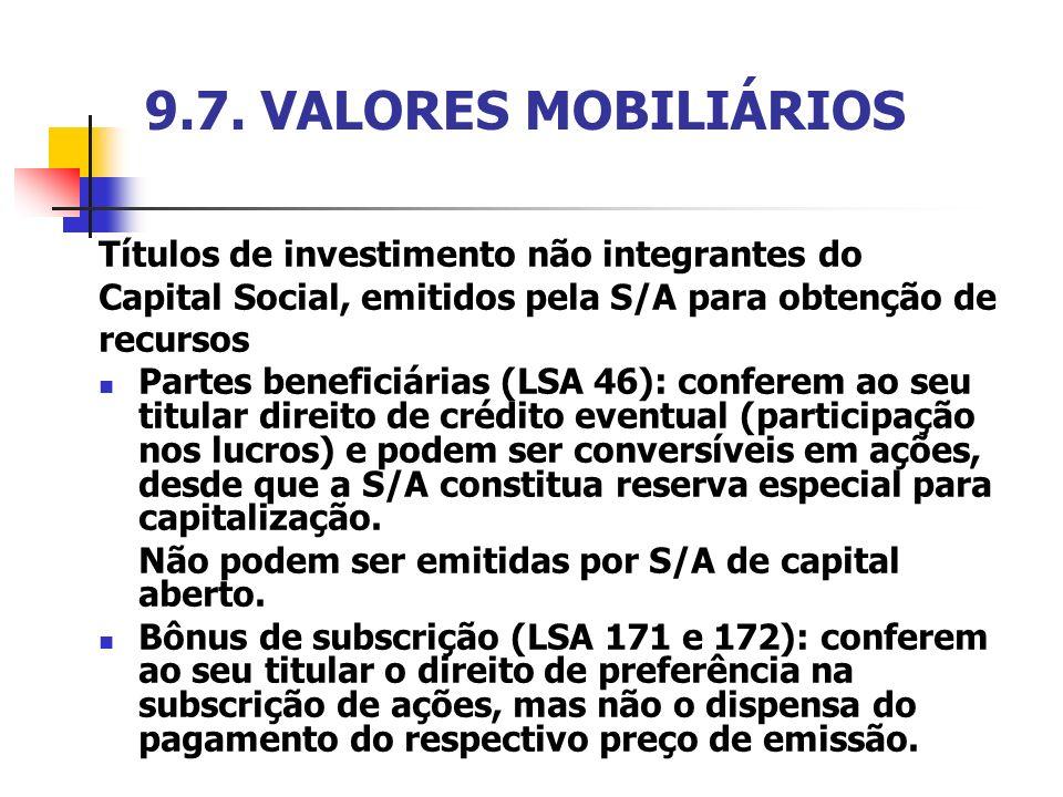 9.7. VALORES MOBILIÁRIOS Títulos de investimento não integrantes do Capital Social, emitidos pela S/A para obtenção de recursos Partes beneficiárias (
