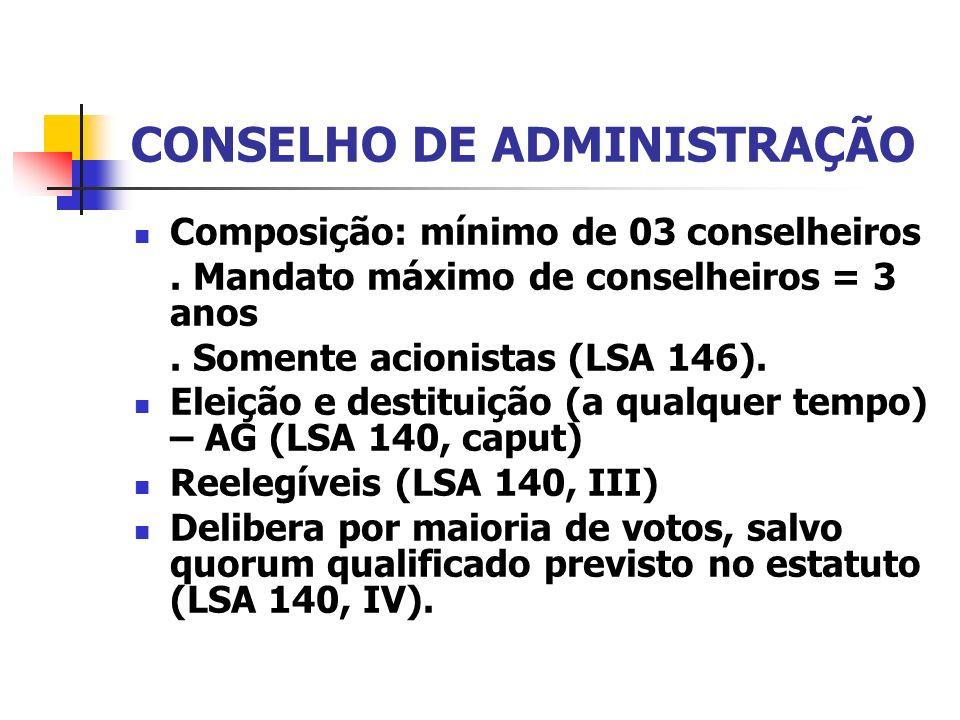 CONSELHO DE ADMINISTRAÇÃO Composição: mínimo de 03 conselheiros. Mandato máximo de conselheiros = 3 anos. Somente acionistas (LSA 146). Eleição e dest
