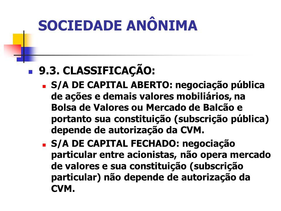 SOCIEDADE ANÔNIMA 9.3. CLASSIFICAÇÃO: S/A DE CAPITAL ABERTO: negociação pública de ações e demais valores mobiliários, na Bolsa de Valores ou Mercado
