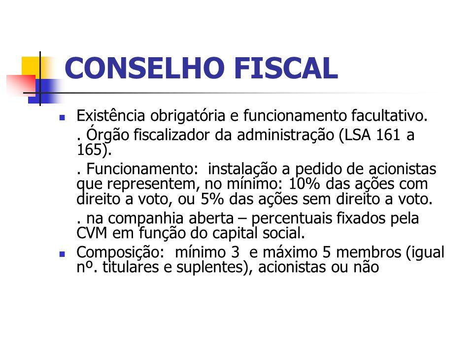 CONSELHO FISCAL Existência obrigatória e funcionamento facultativo.. Órgão fiscalizador da administração (LSA 161 a 165).. Funcionamento: instalação a