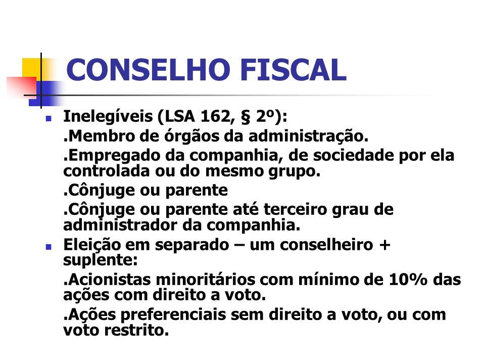 CONSELHO FISCAL Inelegíveis (LSA 162, § 2º):.Membro de órgãos da administração..Empregado da companhia, de sociedade por ela controlada ou do mesmo gr