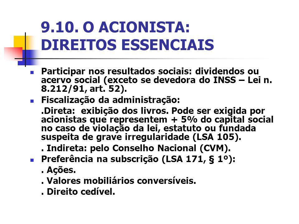 9.10. O ACIONISTA: DIREITOS ESSENCIAIS Participar nos resultados sociais: dividendos ou acervo social (exceto se devedora do INSS – Lei n. 8.212/91, a