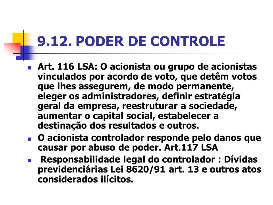 9.12. PODER DE CONTROLE Art. 116 LSA: O acionista ou grupo de acionistas vinculados por acordo de voto, que detêm votos que lhes assegurem, de modo pe