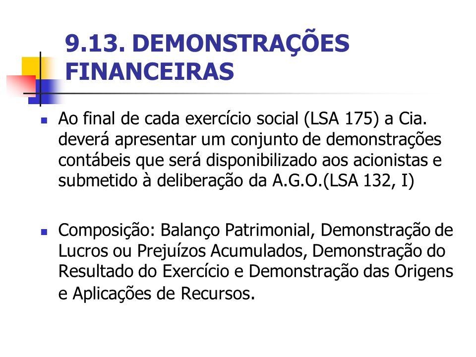 9.13. DEMONSTRAÇÕES FINANCEIRAS Ao final de cada exercício social (LSA 175) a Cia. deverá apresentar um conjunto de demonstrações contábeis que será d