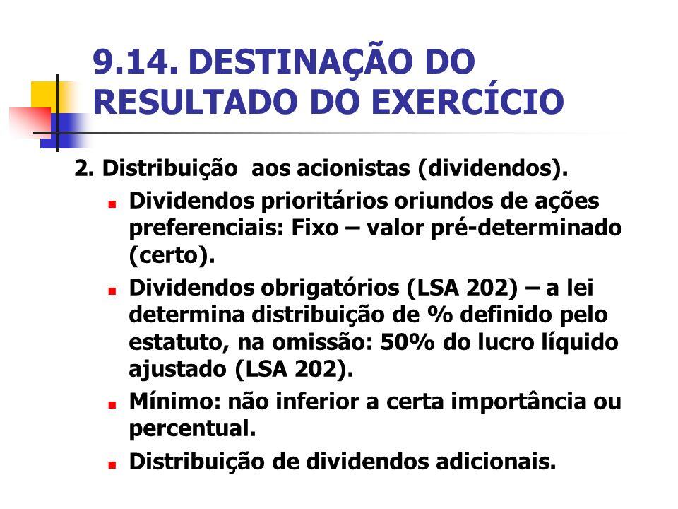 9.14. DESTINAÇÃO DO RESULTADO DO EXERCÍCIO 2. Distribuição aos acionistas (dividendos). Dividendos prioritários oriundos de ações preferenciais: Fixo