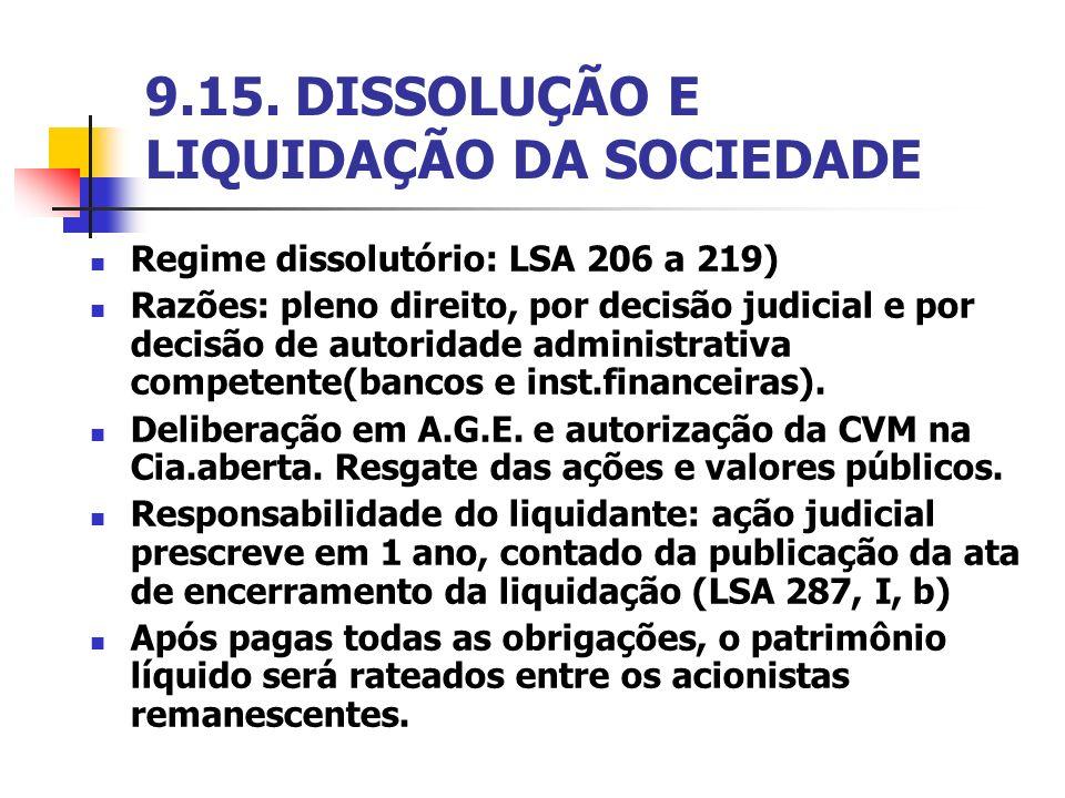 9.15. DISSOLUÇÃO E LIQUIDAÇÃO DA SOCIEDADE Regime dissolutório: LSA 206 a 219) Razões: pleno direito, por decisão judicial e por decisão de autoridade