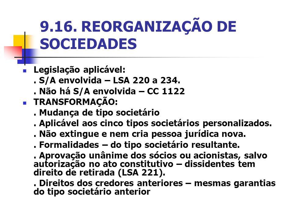 9.16. REORGANIZAÇÃO DE SOCIEDADES Legislação aplicável:. S/A envolvida – LSA 220 a 234.. Não há S/A envolvida – CC 1122 TRANSFORMAÇÃO:. Mudança de tip