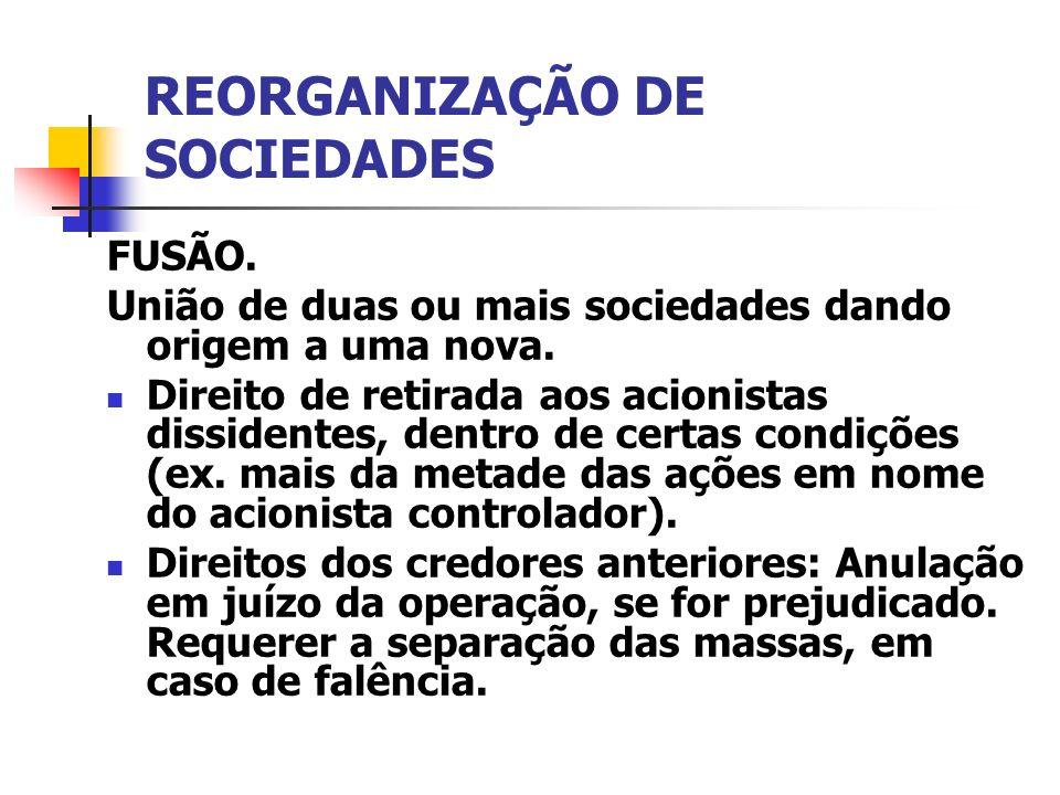 REORGANIZAÇÃO DE SOCIEDADES FUSÃO. União de duas ou mais sociedades dando origem a uma nova. Direito de retirada aos acionistas dissidentes, dentro de