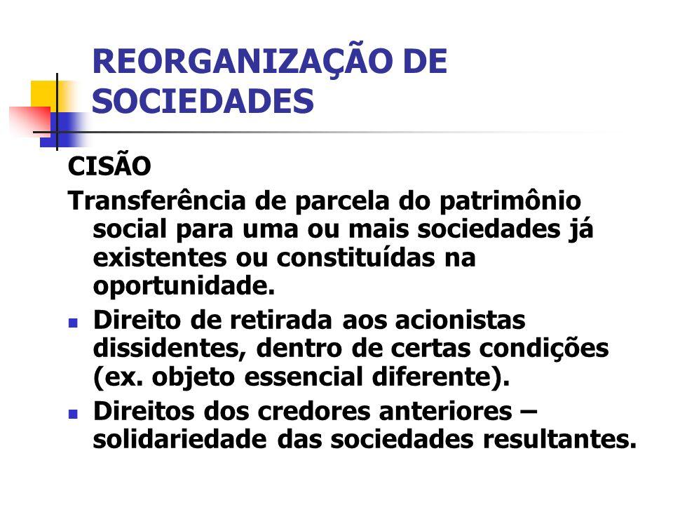 REORGANIZAÇÃO DE SOCIEDADES CISÃO Transferência de parcela do patrimônio social para uma ou mais sociedades já existentes ou constituídas na oportunid