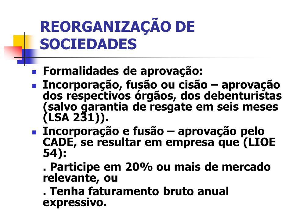 REORGANIZAÇÃO DE SOCIEDADES Formalidades de aprovação: Incorporação, fusão ou cisão – aprovação dos respectivos órgãos, dos debenturistas (salvo garan