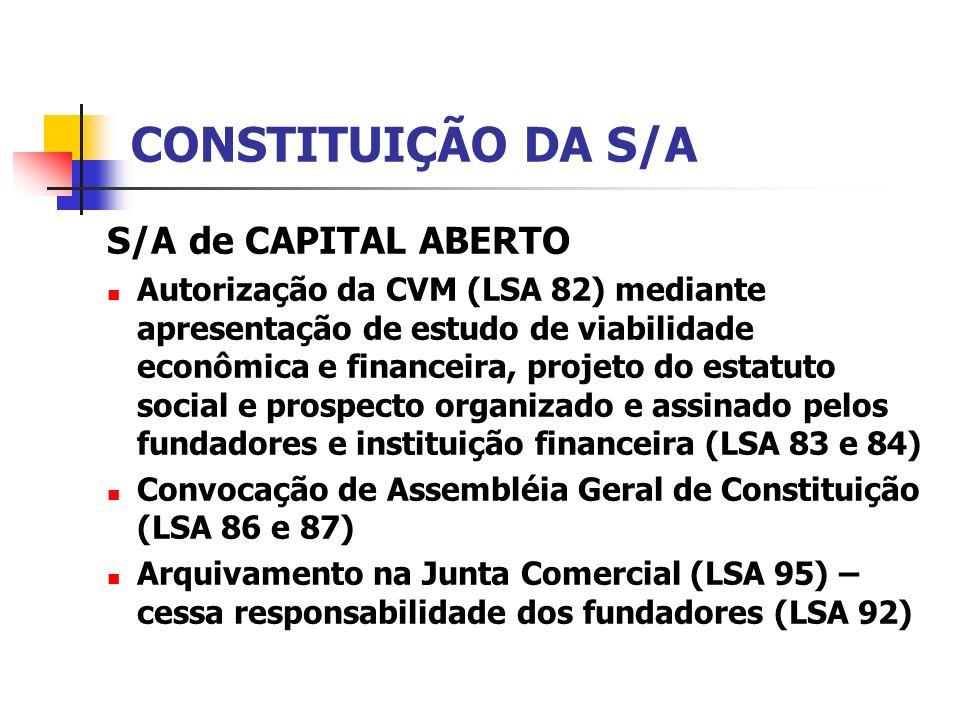 CONSTITUIÇÃO DA S/A S/A de CAPITAL ABERTO Autorização da CVM (LSA 82) mediante apresentação de estudo de viabilidade econômica e financeira, projeto d