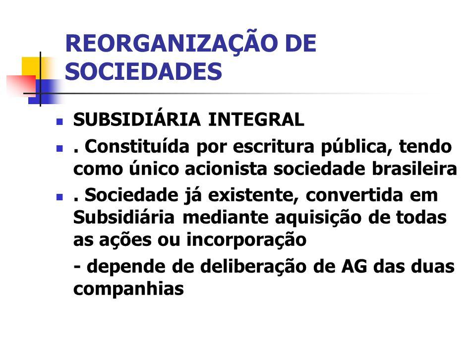 REORGANIZAÇÃO DE SOCIEDADES SUBSIDIÁRIA INTEGRAL. Constituída por escritura pública, tendo como único acionista sociedade brasileira. Sociedade já exi