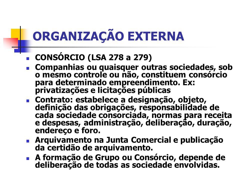 ORGANIZAÇÃO EXTERNA CONSÓRCIO (LSA 278 a 279) Companhias ou quaisquer outras sociedades, sob o mesmo controle ou não, constituem consórcio para determ