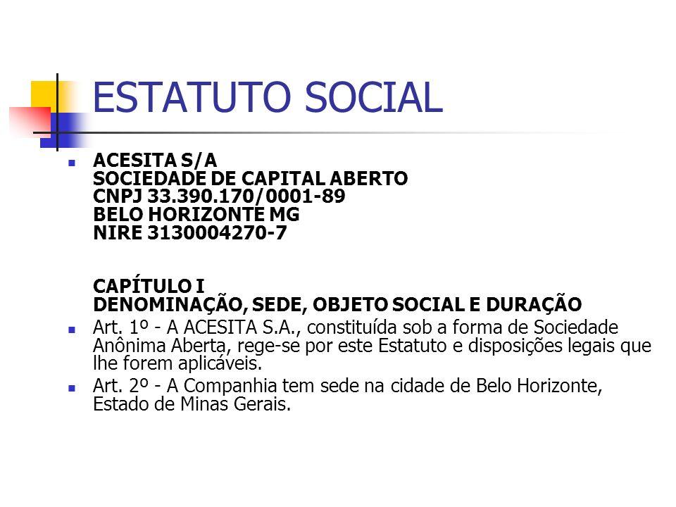 ESTATUTO SOCIAL ACESITA S/A SOCIEDADE DE CAPITAL ABERTO CNPJ 33.390.170/0001-89 BELO HORIZONTE MG NIRE 3130004270-7 CAPÍTULO I DENOMINAÇÃO, SEDE, OBJE