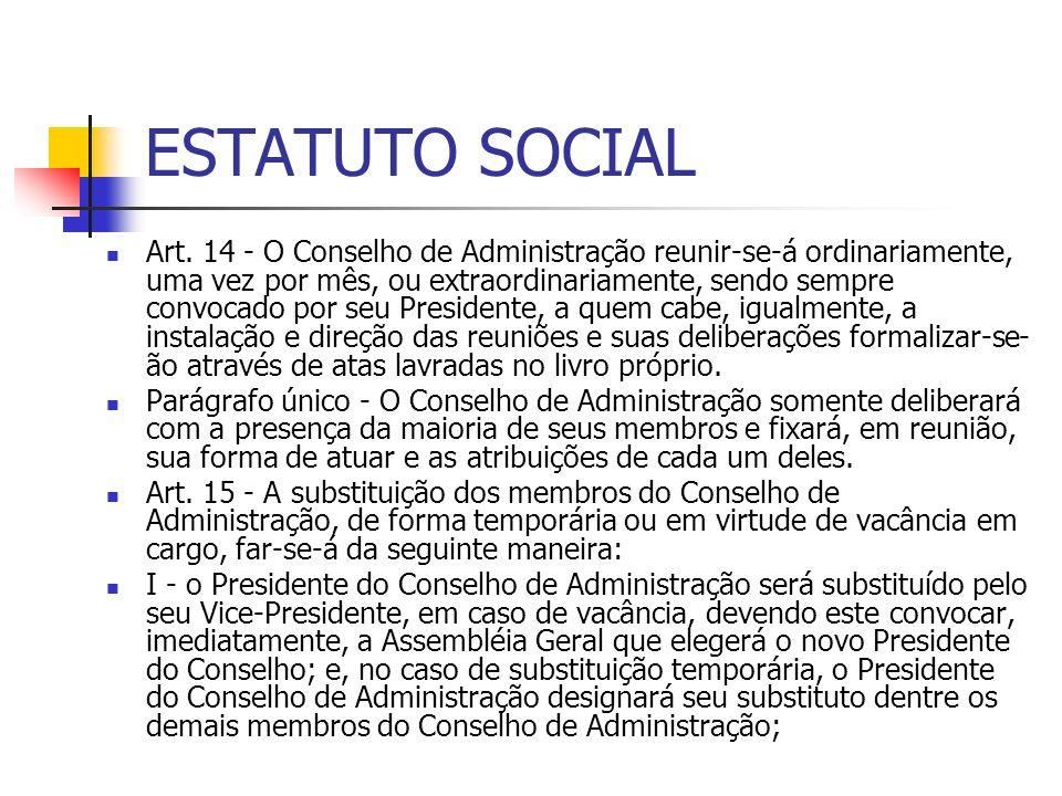 ESTATUTO SOCIAL Art. 14 - O Conselho de Administração reunir-se-á ordinariamente, uma vez por mês, ou extraordinariamente, sendo sempre convocado por
