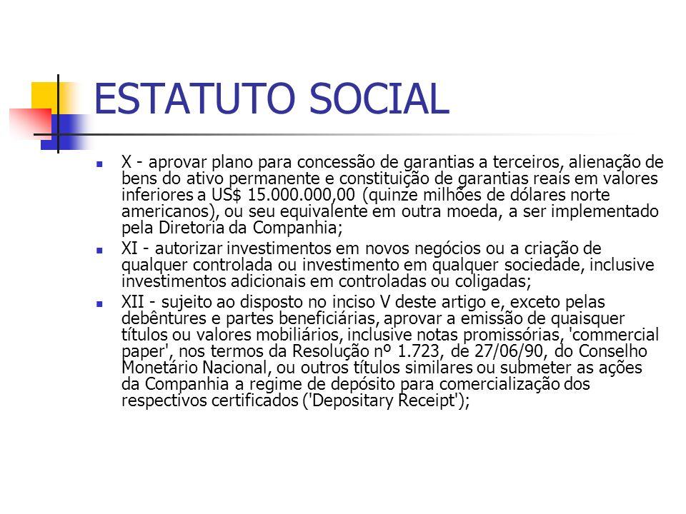 ESTATUTO SOCIAL X - aprovar plano para concessão de garantias a terceiros, alienação de bens do ativo permanente e constituição de garantias reais em