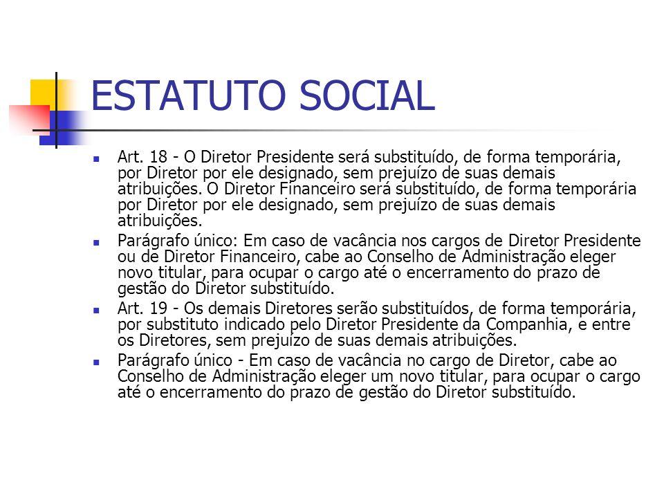 ESTATUTO SOCIAL Art. 18 - O Diretor Presidente será substituído, de forma temporária, por Diretor por ele designado, sem prejuízo de suas demais atrib