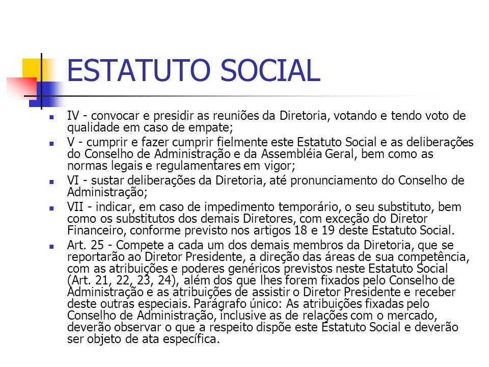 ESTATUTO SOCIAL IV - convocar e presidir as reuniões da Diretoria, votando e tendo voto de qualidade em caso de empate; V - cumprir e fazer cumprir fi