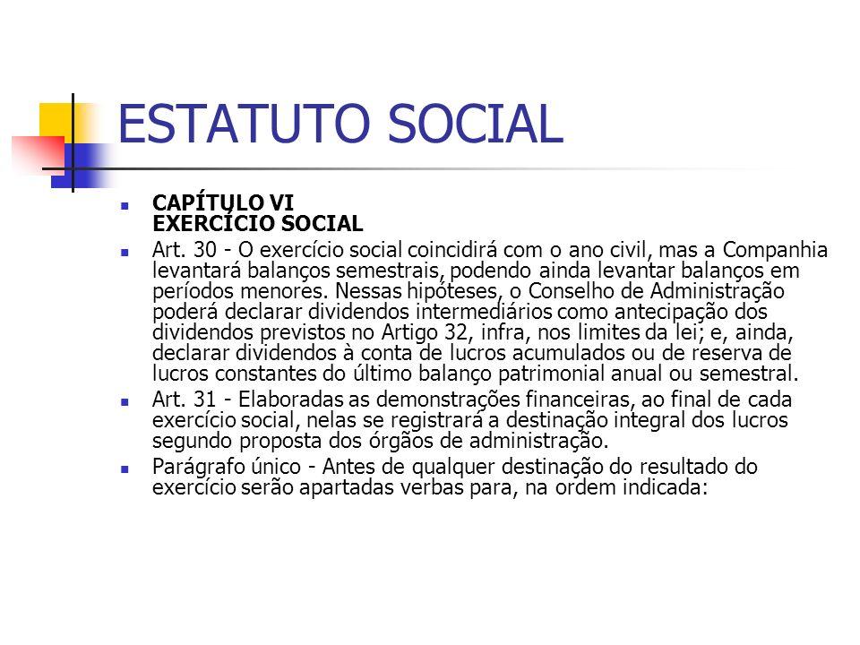 ESTATUTO SOCIAL CAPÍTULO VI EXERCÍCIO SOCIAL Art. 30 - O exercício social coincidirá com o ano civil, mas a Companhia levantará balanços semestrais, p
