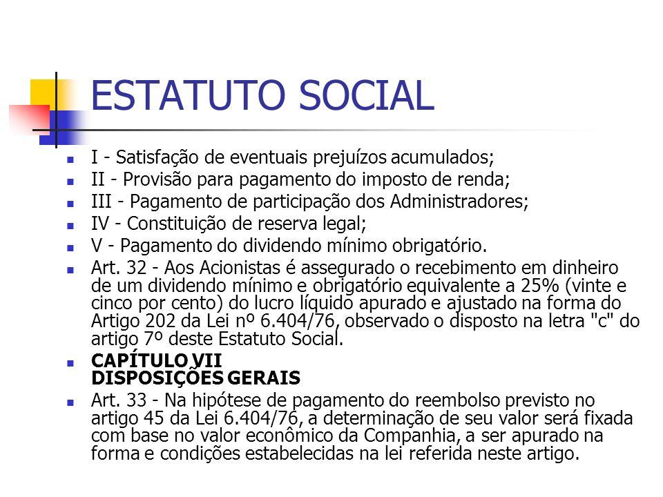 ESTATUTO SOCIAL I - Satisfação de eventuais prejuízos acumulados; II - Provisão para pagamento do imposto de renda; III - Pagamento de participação do