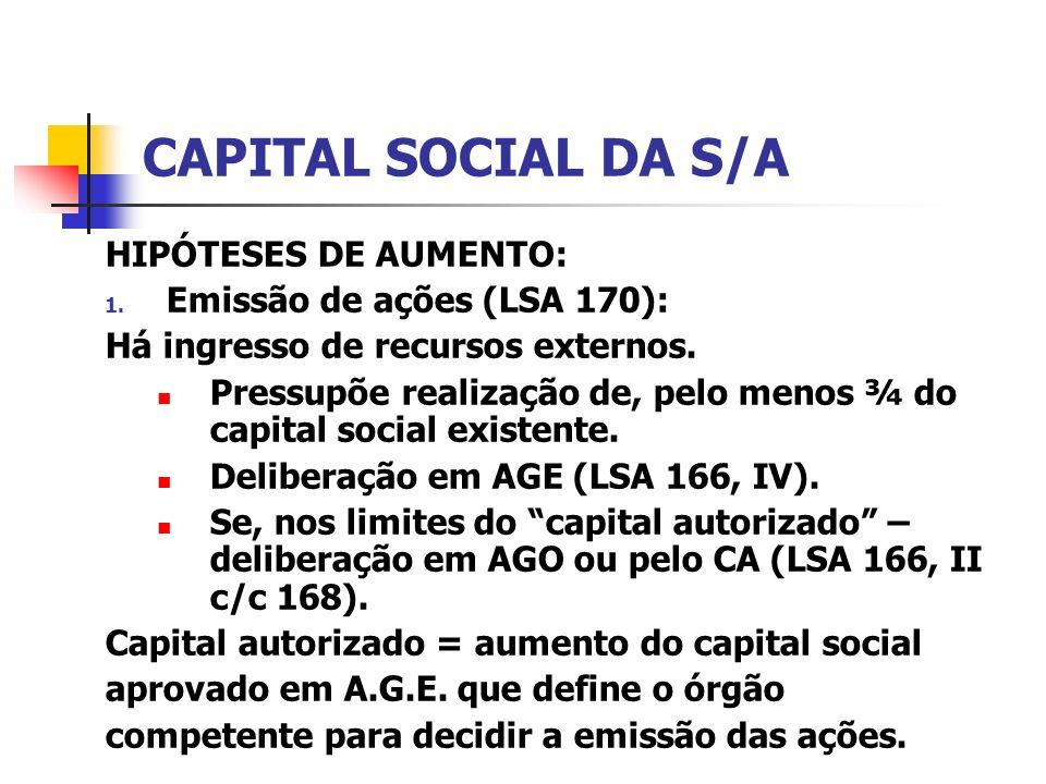 CAPITAL SOCIAL DA S/A HIPÓTESES DE AUMENTO: 1. Emissão de ações (LSA 170): Há ingresso de recursos externos. Pressupõe realização de, pelo menos ¾ do