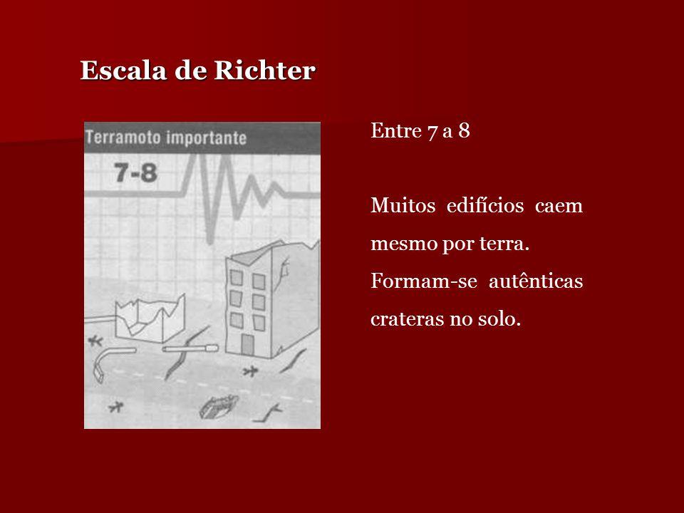 Escala de Richter Entre 7 a 8 Muitos edifícios caem mesmo por terra. Formam-se autênticas crateras no solo. Entre 7 a 8 Muitos edifícios caem mesmo po
