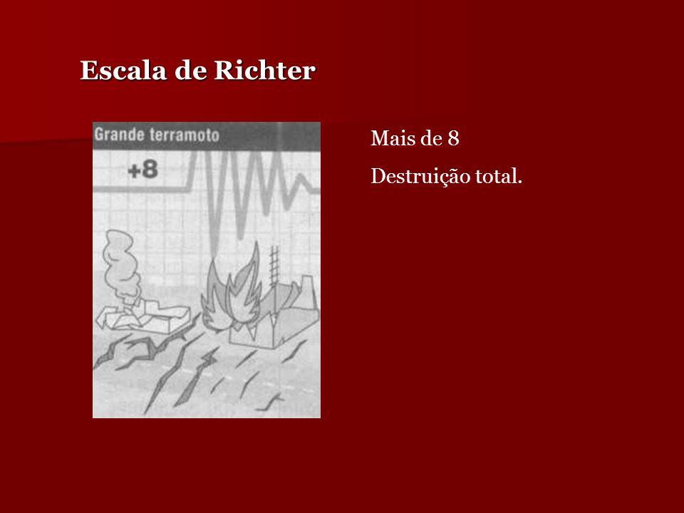 Escala de Richter Mais de 8 Destruição total. Mais de 8 Destruição total.