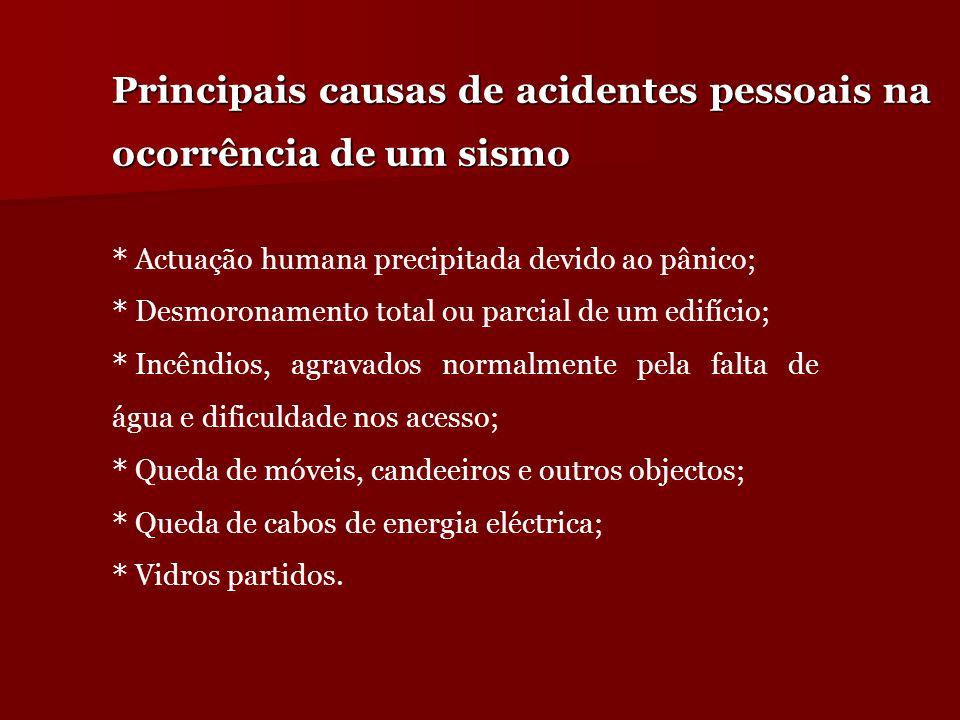 Principais causas de acidentes pessoais na ocorrência de um sismo * Actuação humana precipitada devido ao pânico; * Desmoronamento total ou parcial de