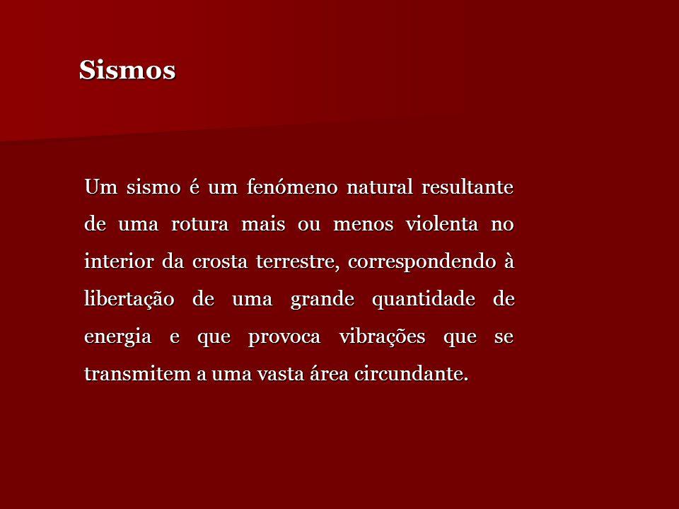 SismosSismos Um sismo é um fenómeno natural resultante de uma rotura mais ou menos violenta no interior da crosta terrestre, correspondendo à libertaç
