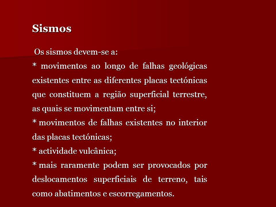 SismosSismos Os sismos devem-se a: Os sismos devem-se a: * movimentos ao longo de falhas geológicas existentes entre as diferentes placas tectónicas q