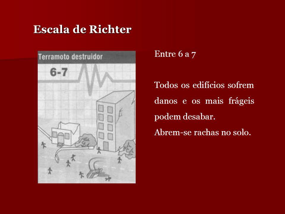 Escala de Richter Entre 6 a 7 Todos os edifícios sofrem danos e os mais frágeis podem desabar. Abrem-se rachas no solo. Entre 6 a 7 Todos os edifícios