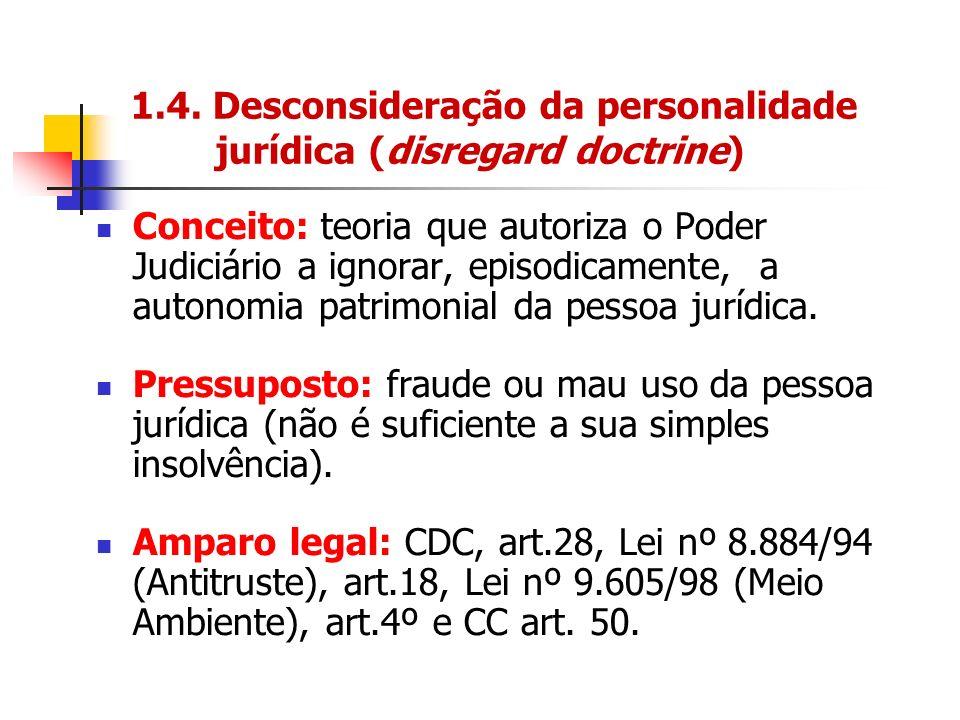 1.4. Desconsideração da personalidade jurídica (disregard doctrine) Conceito: teoria que autoriza o Poder Judiciário a ignorar, episodicamente, a auto