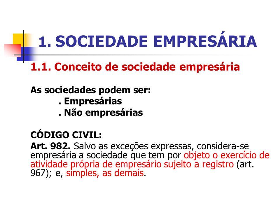 1. SOCIEDADE EMPRESÁRIA 1.1. Conceito de sociedade empresária As sociedades podem ser:. Empresárias. Não empresárias CÓDIGO CIVIL: Art. 982. Salvo as