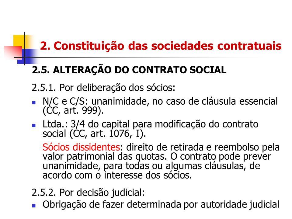 2. Constituição das sociedades contratuais 2.5. ALTERAÇÃO DO CONTRATO SOCIAL 2.5.1. Por deliberação dos sócios: N/C e C/S: unanimidade, no caso de clá