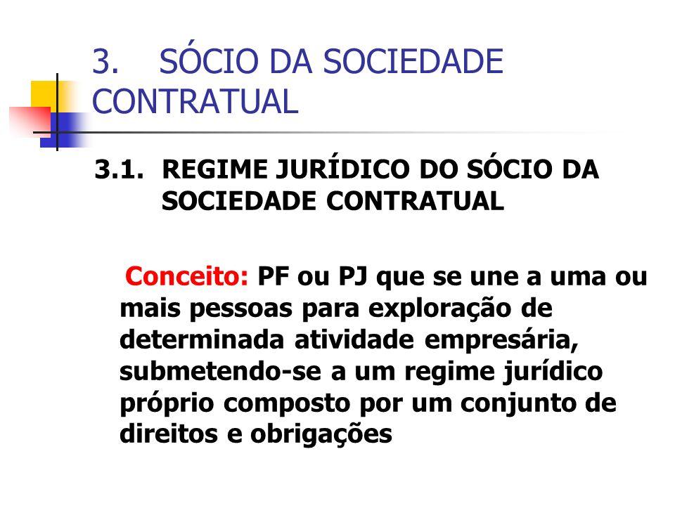 3.SÓCIO DA SOCIEDADE CONTRATUAL 3.1.REGIME JURÍDICO DO SÓCIO DA SOCIEDADE CONTRATUAL Conceito: PF ou PJ que se une a uma ou mais pessoas para exploraç