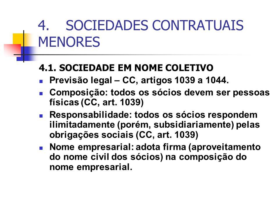 4.SOCIEDADES CONTRATUAIS MENORES 4.1. SOCIEDADE EM NOME COLETIVO Previsão legal – CC, artigos 1039 a 1044. Composição: todos os sócios devem ser pesso